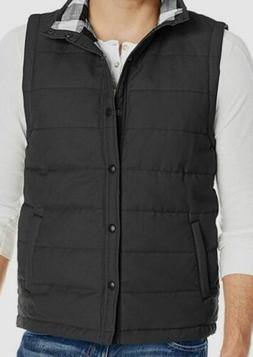 $115 Unionbay Men's Black Canvas Flannel Quilted Snap-Button