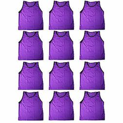 12 ADULT PURPLE SCRIMMAGE VESTS PINNIES Soccer, LaCrosse, Ba