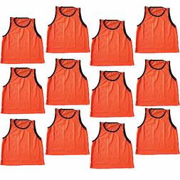 12 SCRIMMAGE VESTS PINNIES SOCCER ADULT ORANGE ~ NEW!