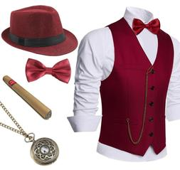 1920s Mens Gatsby Gangster Vest Costume Accessories Set Fedo