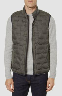 $277 Bugatchi Men's Green Blue Reversible Quilted Puffer Ves