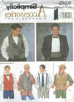 Simplicity 9345 Men's Vests and One Size Accessories 32 to 4
