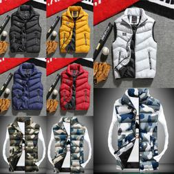 US Fashion Mens Winter Warm Vest Jacket Cotton Down Padded S