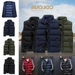Men Winter Vest Sleeveless Puffer Outwear Zipper Padded Jack