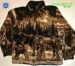 ZooFleece Berber Jacket Black Deer Moose Tiger Animal Coat G