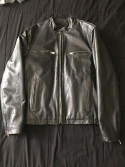 Brand New Top Gun Mens Black Leather Bomber Jacket Aged Larg
