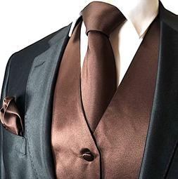 Brand Q 3pc Men's Dress Vest Necktie Pocket Square Set For S
