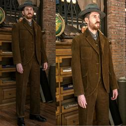 Brown Corduroy Style Men's Hunting Suits Vintage Retro Sport