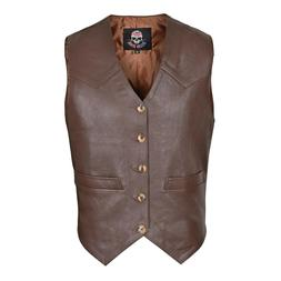 WICKED STOCK Brown Men's Premium Leather Vest Western Style