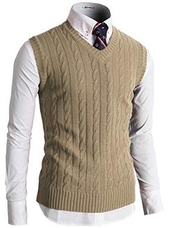 H2H Mens Casual Knitted Slim Fit Sleeveless V-Neck Vest Knit