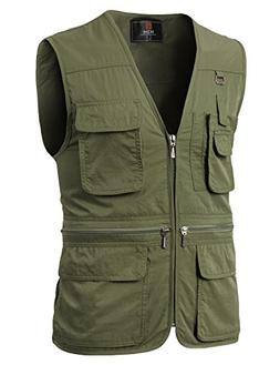H2H Mens Casual Undercover Travel Vest Vest with Multiple Po