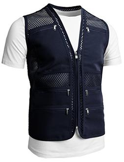 H2H Mens Casual Work Utility Hunting Travels Sports Mesh Ves