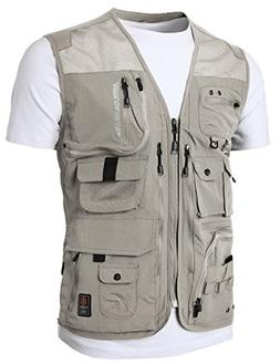 H2H Mens Pockets Jacket Outdoors Travels Sports Vest Tops Be
