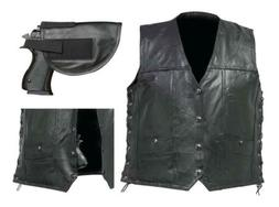 CCW LEATHER VEST Mens Black Buffalo CONCEALED CARRY Gun Hols
