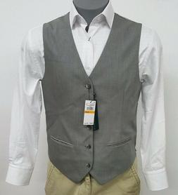 Perry Ellis Core Brushed Nickel Grey Button Up Men's Vest NW
