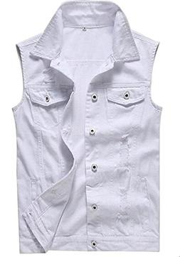 Only Faith Men's White Jeans Vest Fashion Sleeveless Denim J