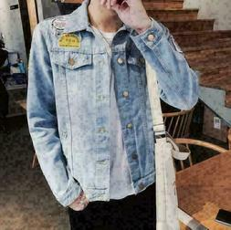Fashion Mens Casual Jackets Retro Cowboy Denim Jeans Coats S