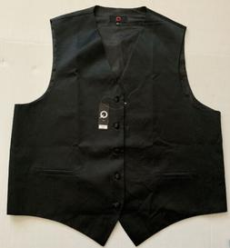 Brand Q Five Button Front Mens Vest Size XXL Black Italy
