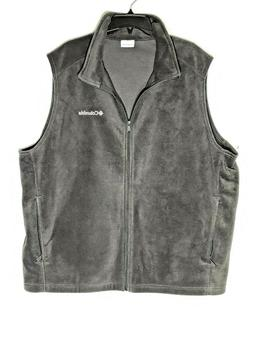 Columbia Fleece Vest Men's Charcoal Gray Embroidered Zip Fro