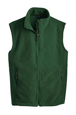 Clothe Co. Mens Fleece Vest with Pockets, Forest Green,XL