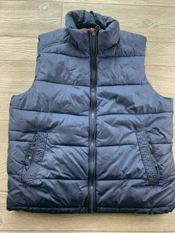 TOMMY HILFIGER FULL ZIP NAVY BLUE PUFFY FILLED PUFFER VEST M