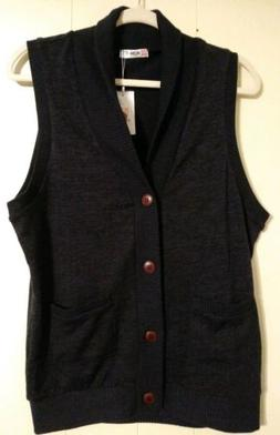 H2H Knit Shawl Collar Vest Small Navy Blue Button Up Career
