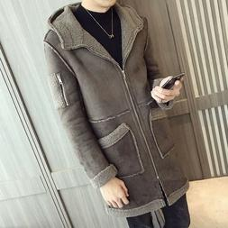 Jd_uk Winter Men's Suede Cotton Clothing Hooded Jacket Trenc