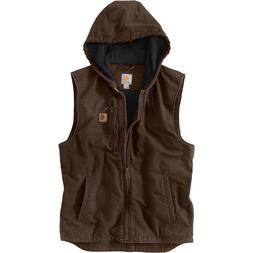 Carhartt Knoxville Hooded Vest MEN'S LARGE Sandstone Duck Fl