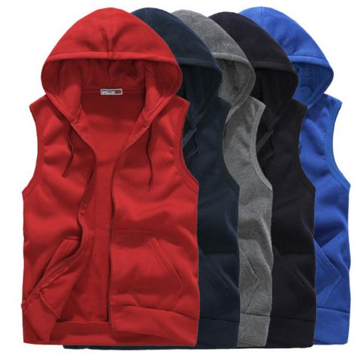 Men Casual Sleeveless Zip Up Hooded Sweatshirt Sport Hoodies