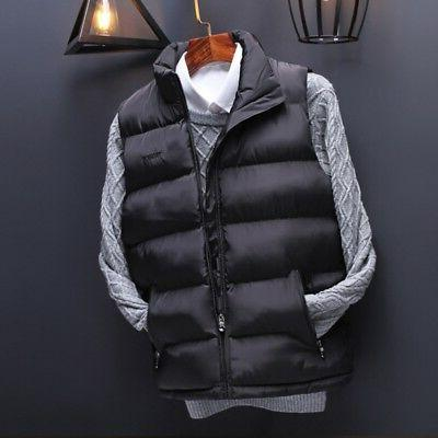 US Men's Winter Vest Sleeveless Puffer Warm Outwear Zipper P