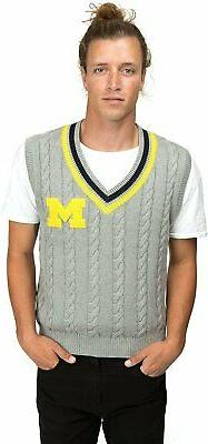 Alma Mater NCAA Michigan Wolverines Men's Cable Knit Vest, X