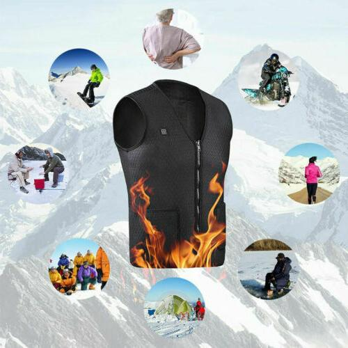 Electric Heated Vest Jacket USB Thermal Heating Pad Winter