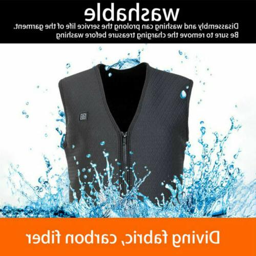 Electric Vest Jacket USB Thermal Warm Heating Pad Body Winter