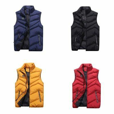 Men Winter Zipper Vest Sleeveless Puffer Outwear Warm Padded