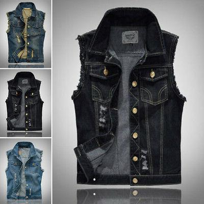 Jacket Punk Fashion Cool Jean Retro Men's Shirt Vest Sleevel