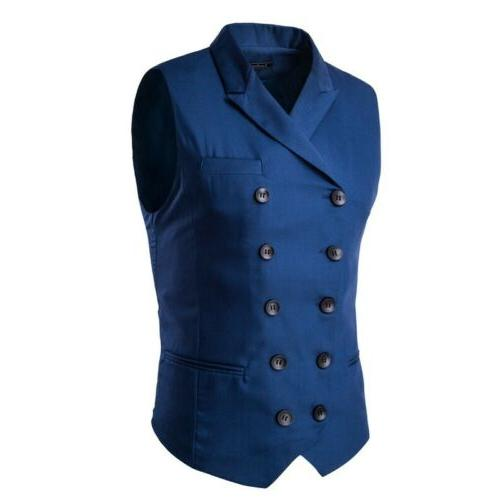 Men Business Suit Tuxedo Waistcoat Double Breasted
