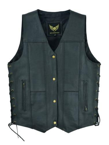 Men Leather Pocket Motorcycle Vest Carry