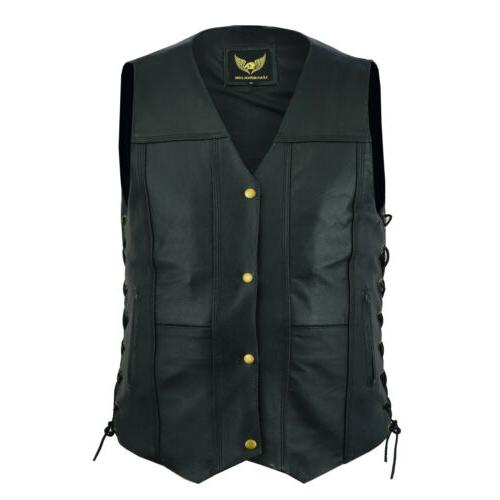 Men Genuine Pocket Motorcycle Vest Carry