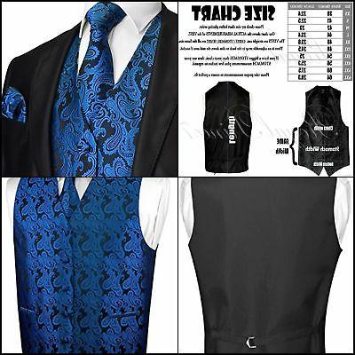 Men's 3pc Paisley Design Dress Vest NeckTie Pocket Square Se