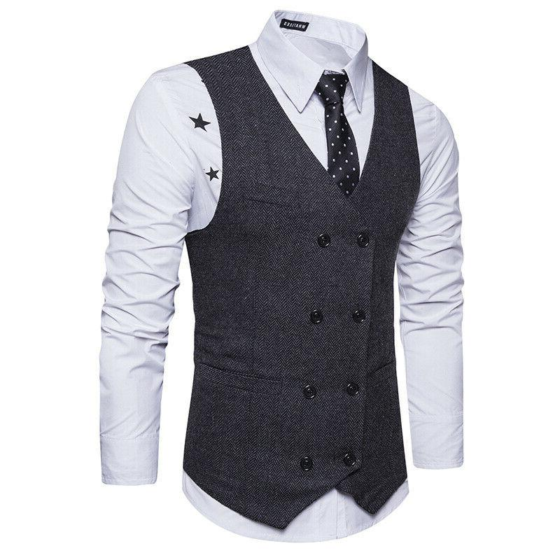 Men's Botton Slim Fit Dress Suit Waistcoat Work Tops