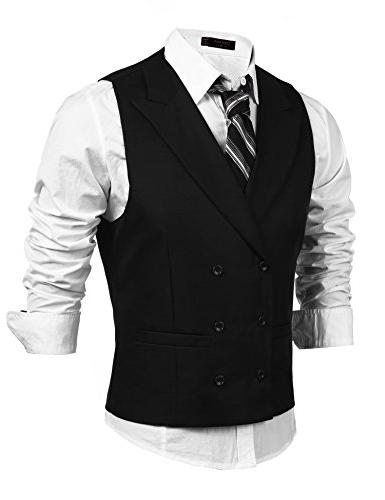 men s double breasted classic formal waistcoat