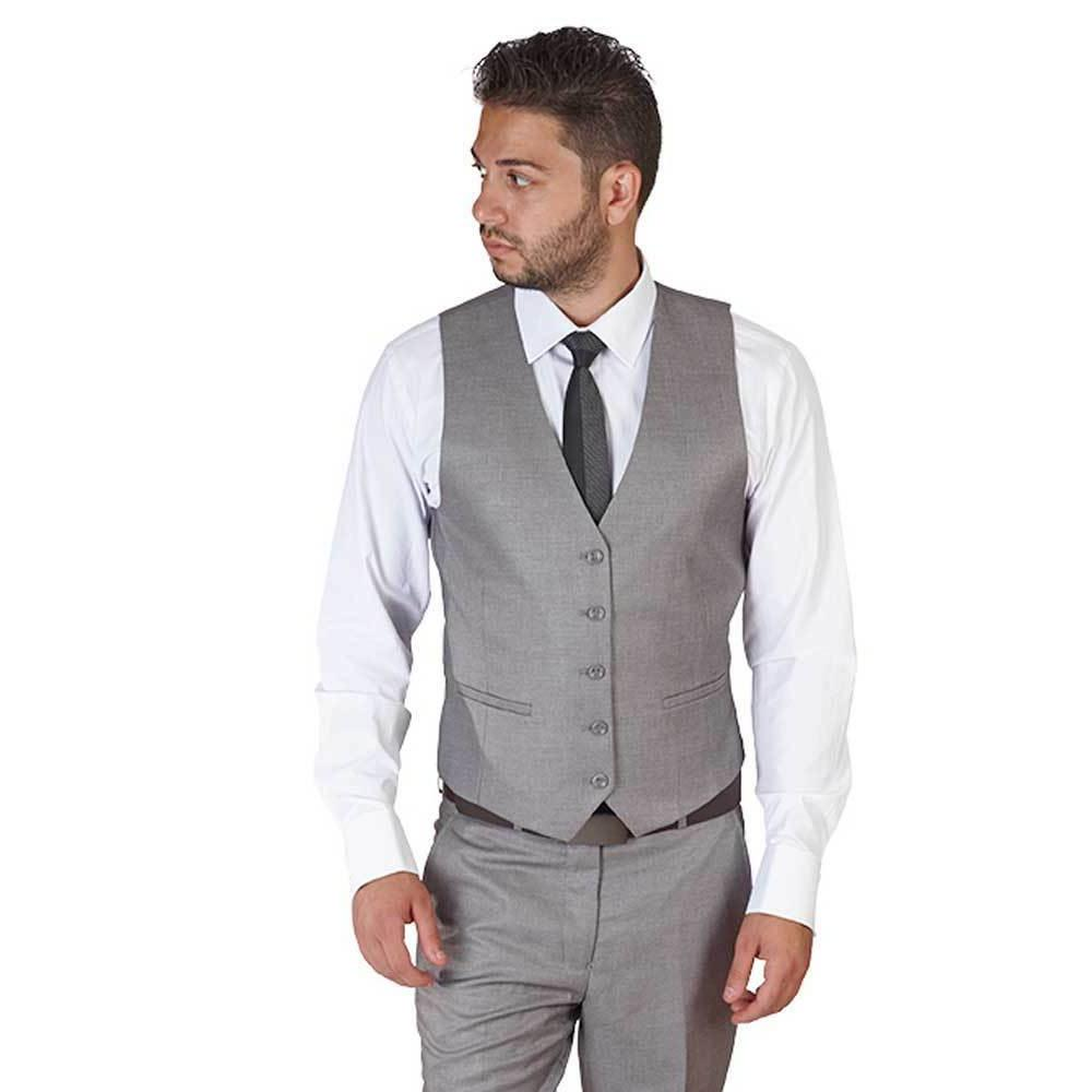 Silver Grey Dress Suit Vest 5 Button V Neck Adjustable Back