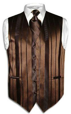 Men's Dress Vest & NeckTie DARK BROWN Color Woven Striped De