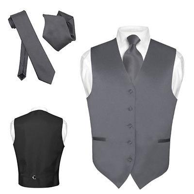 Men's Dress Vest NeckTie Hanky CHARCOAL GREY Gray Neck Tie S