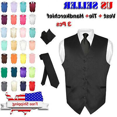 men s dress vest necktie hanky solid