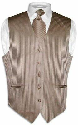Men's Dress Vest NeckTie MOCHA Lt. BROWN Vertical Striped De