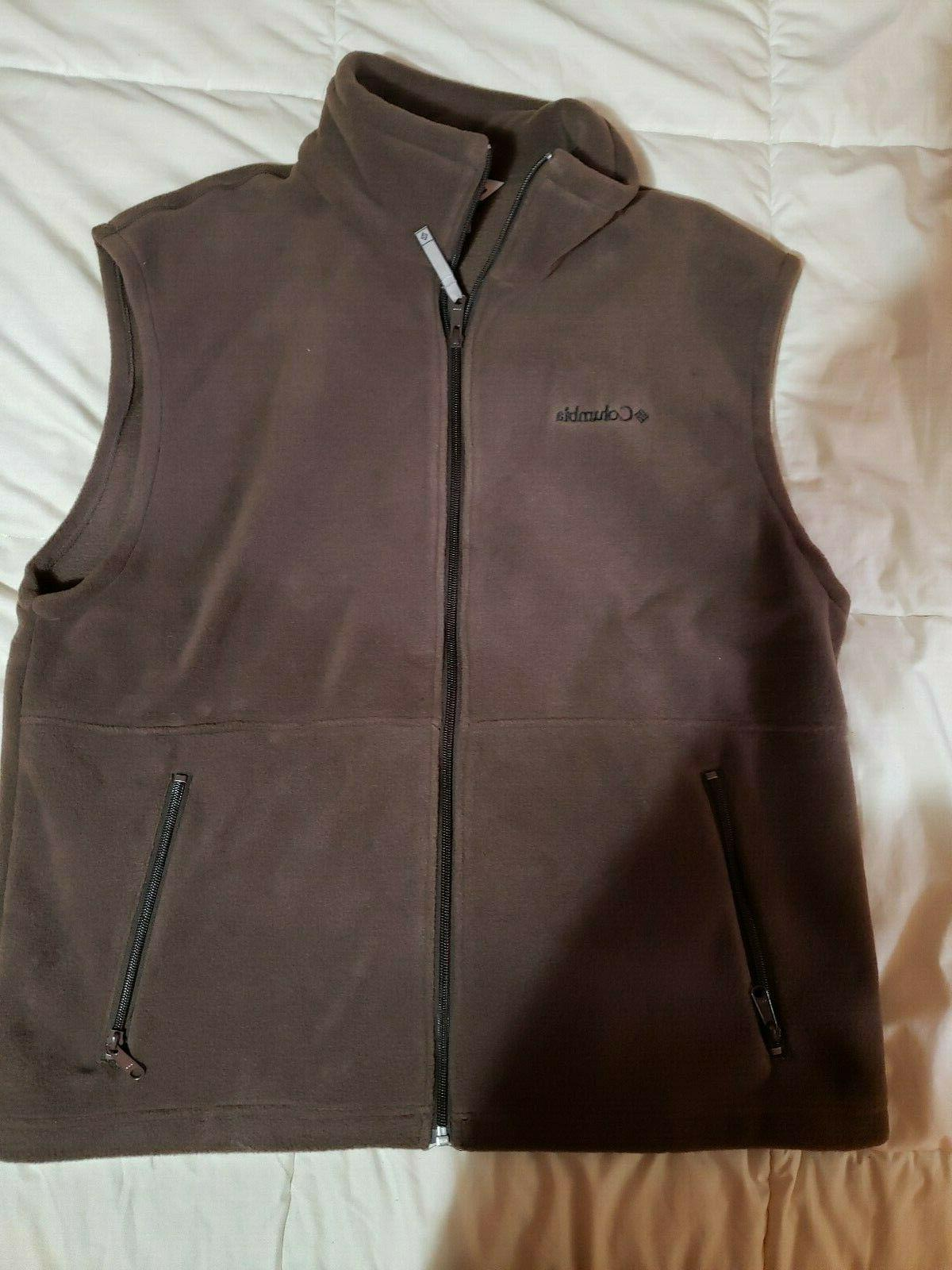 men s full zip fleece vest brown