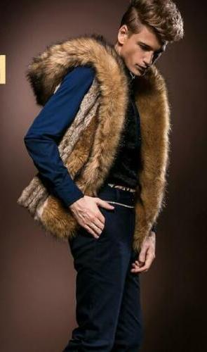 Men's Fur Leather Vest Coat Jacket New