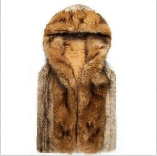 Men's Fur Leather Hooded Vest Mens Sleeveless Outerwear Coat