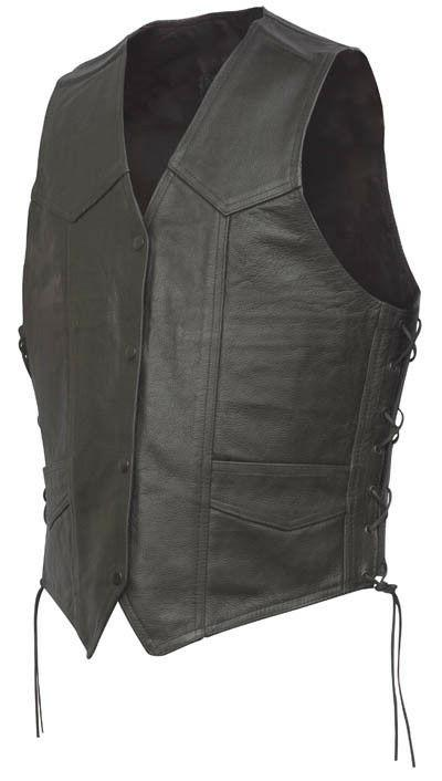 Men's Leather Motorcycle Vest Biker Vest Black Snaps Brand N